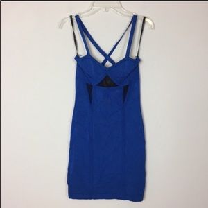 Bebe Blue & Black Bodycon Dress